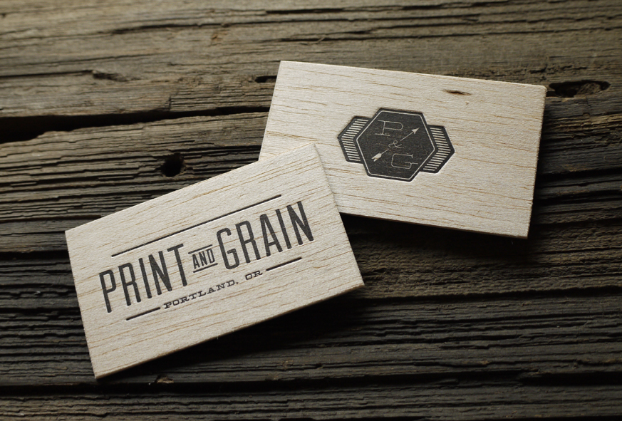 letterpress wood and cotton paper business card