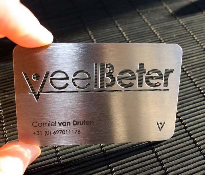 Metal steel business card